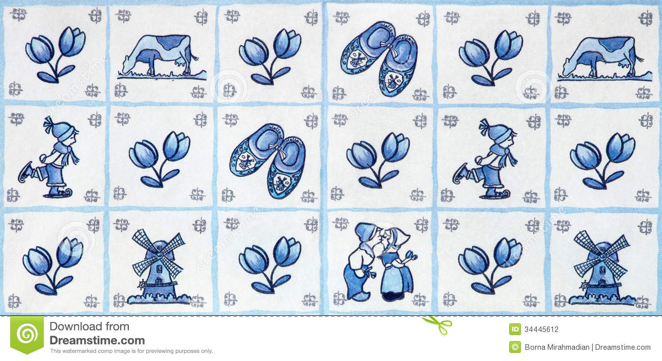 Windmills clogs tulips and kissing couple in a blue delft design mr no