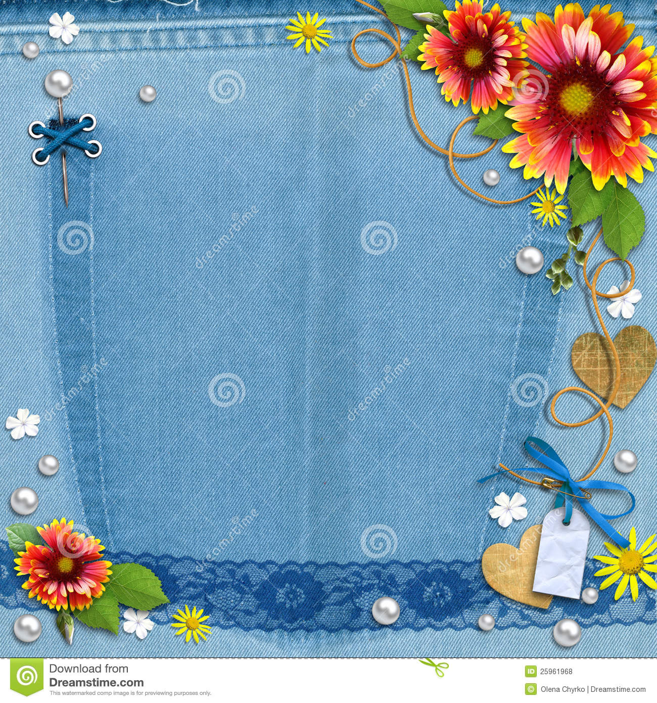 blue denim background with flowers and pearls  royalty