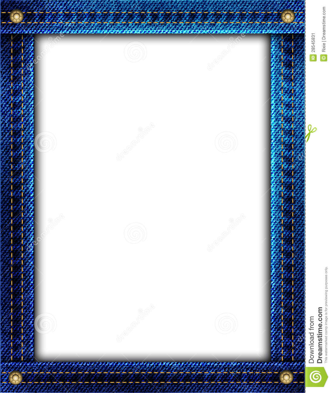 blue denim frame with space for your image or text.