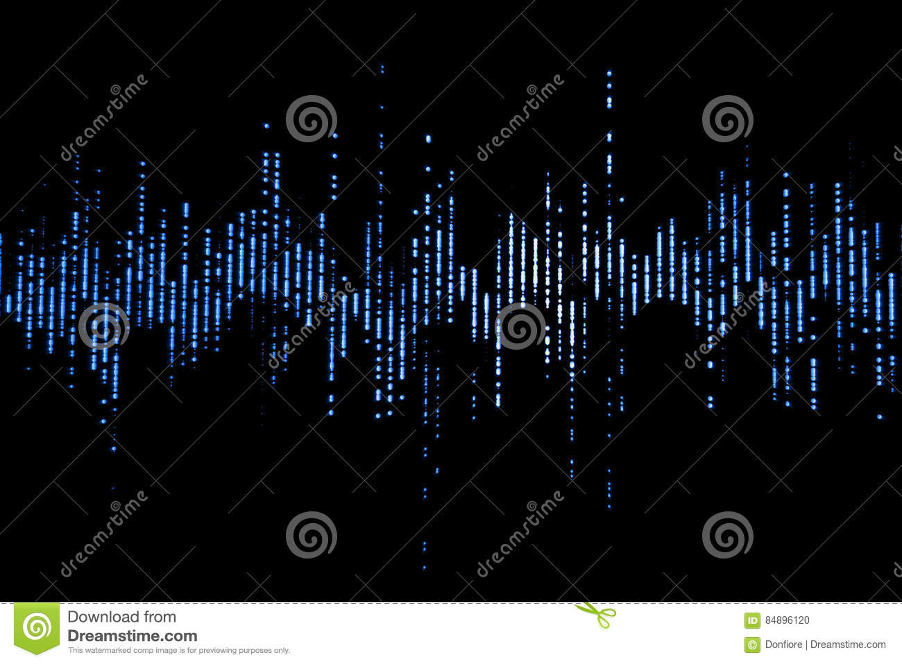Blue digital equalizer audio sound waves on black background, stereo sound effect signal