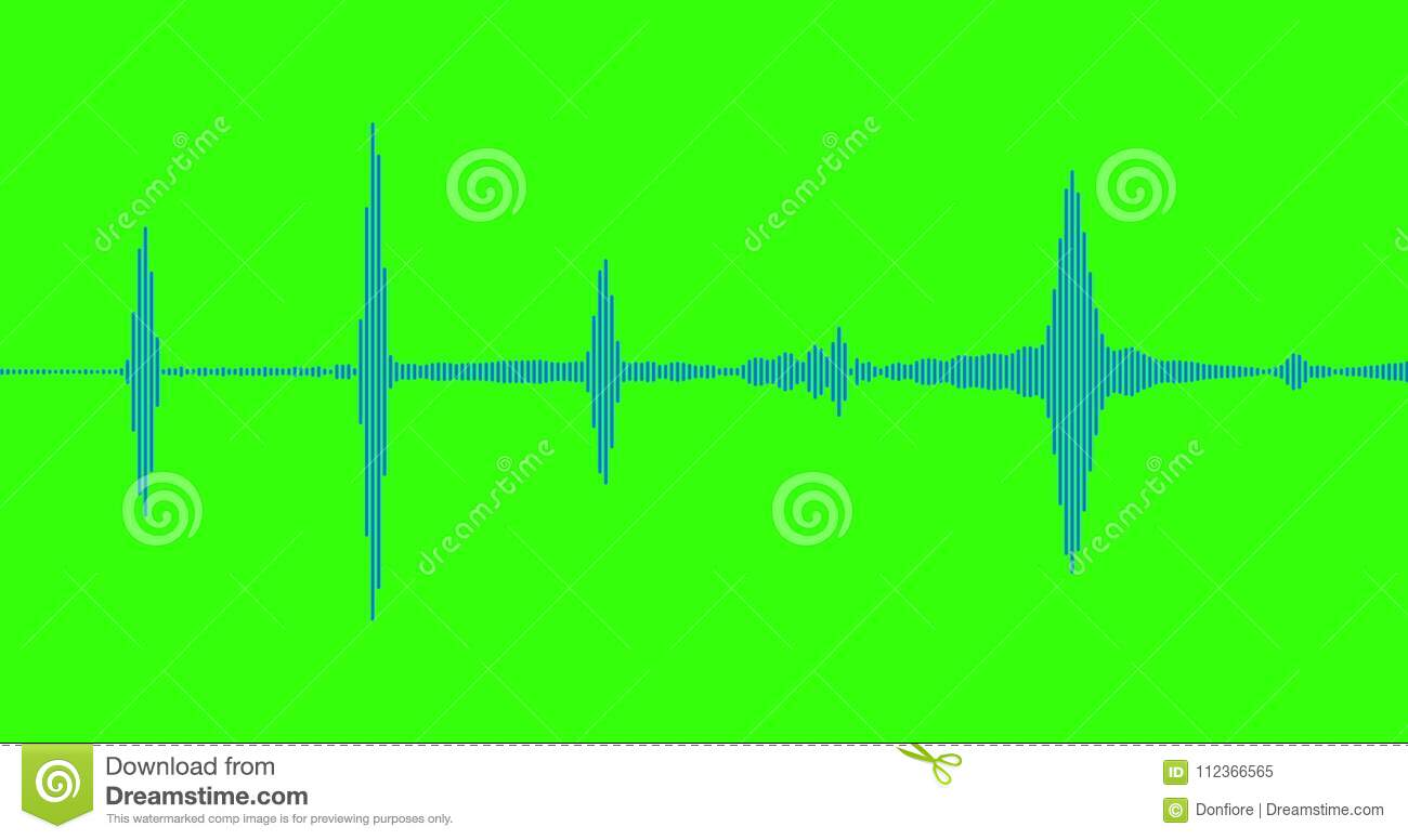 Blue digital equalizer audio spectrum sound waves on chroma key green  screen background, stereo sound effect signal