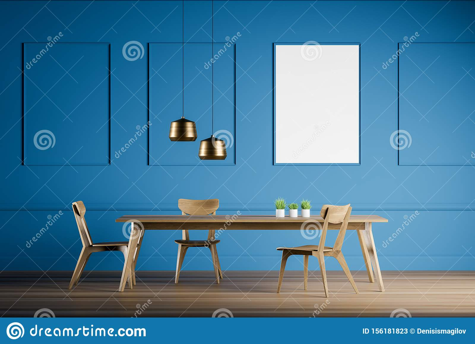 Blue Dining Room Interior With Poster Stock Illustration Illustration Of Minimalism Empty 156181823