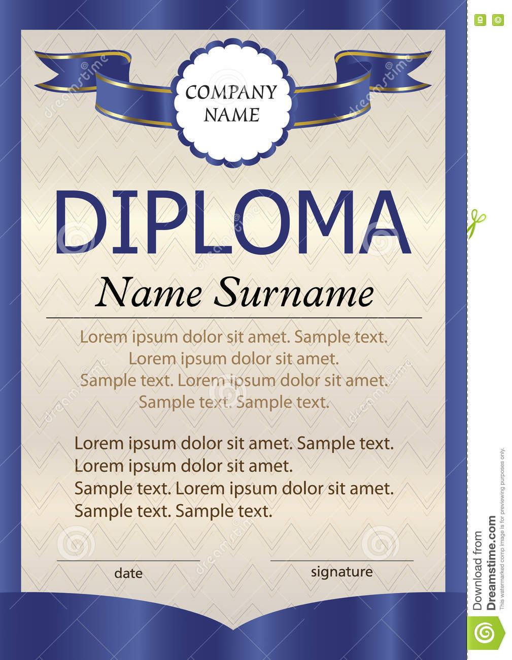Blue Diploma Or Certificate Or Vertical Template. The Text ...