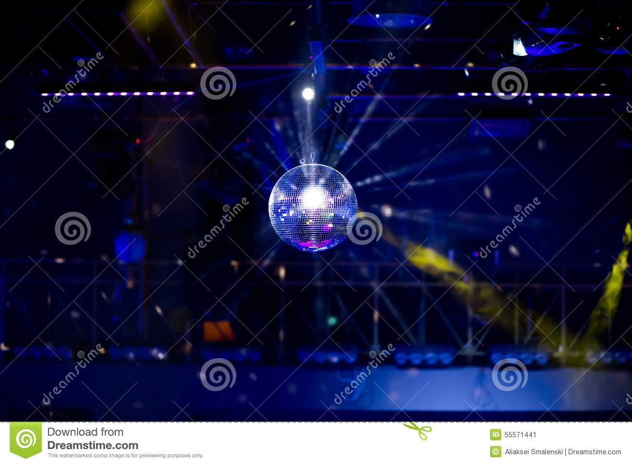 blue disco background with mirror ball stock photo image