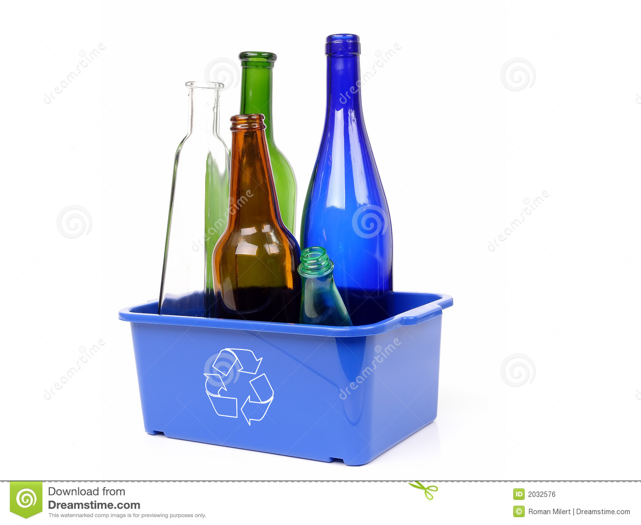 Blue disposal bin and color glass bottles royalty free for Reuse glass