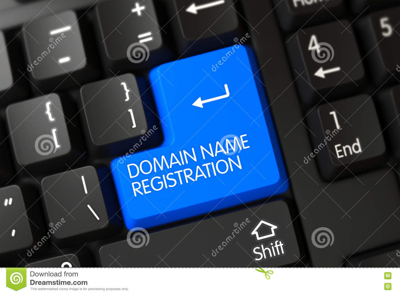 Blue Domain Name Registration Button On Keyboard 3d Stock Photo Image Of User Laptop 79845536