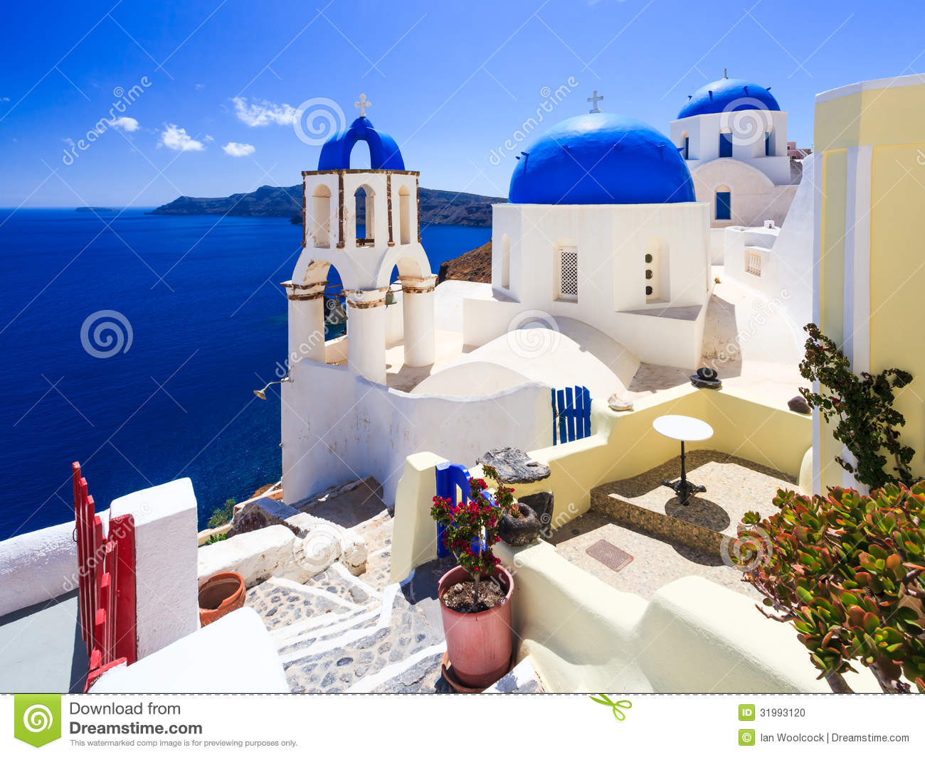 Blue Dome Churches Oia Santorini Stock Photo Image 31993120