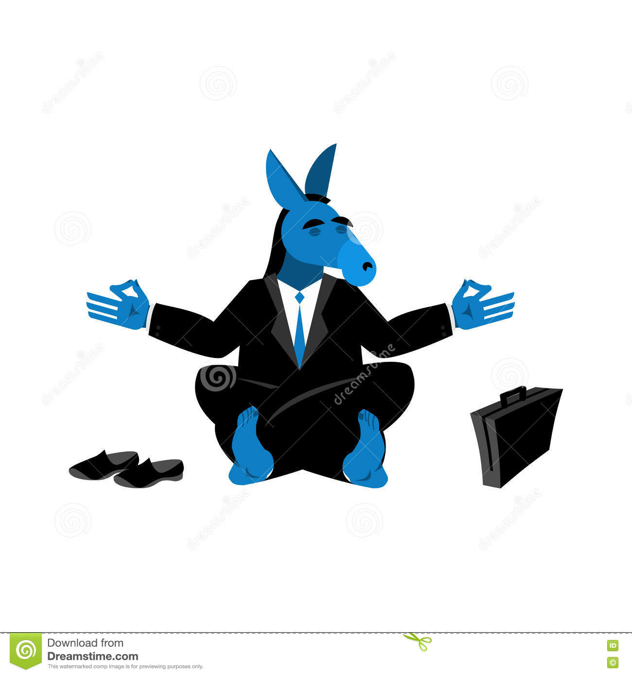 Blue Donkey Democrat Meditating Symbol Of Usa Political Parties