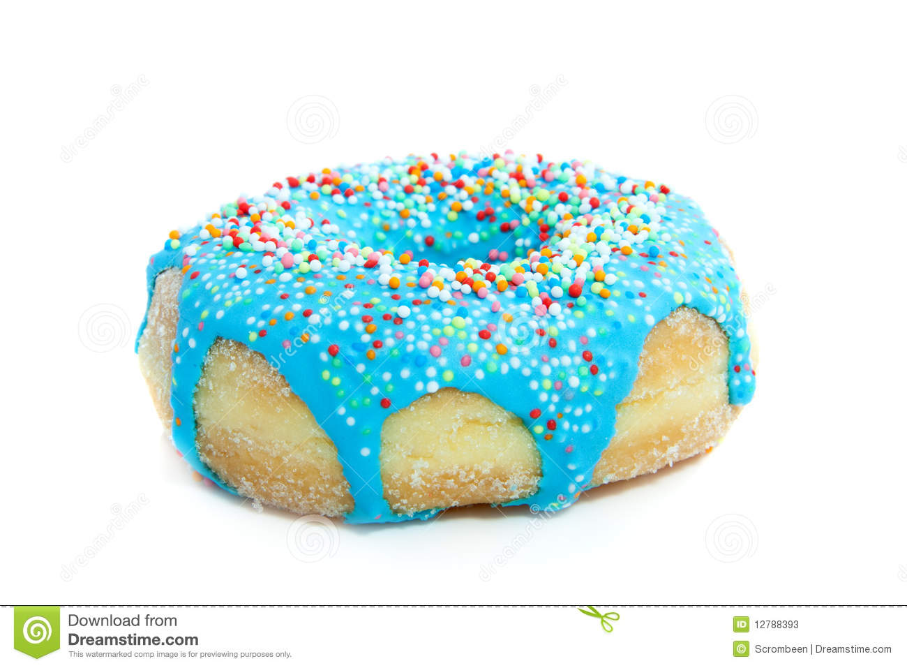 A Blue Donut With Colorful Speckles Stock Image Image Of