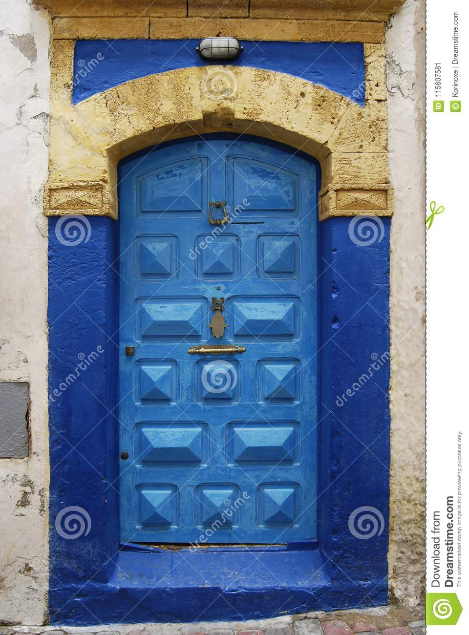 Blue Door With Fatima Hand Symbol Stock Image Image Of Moroccan