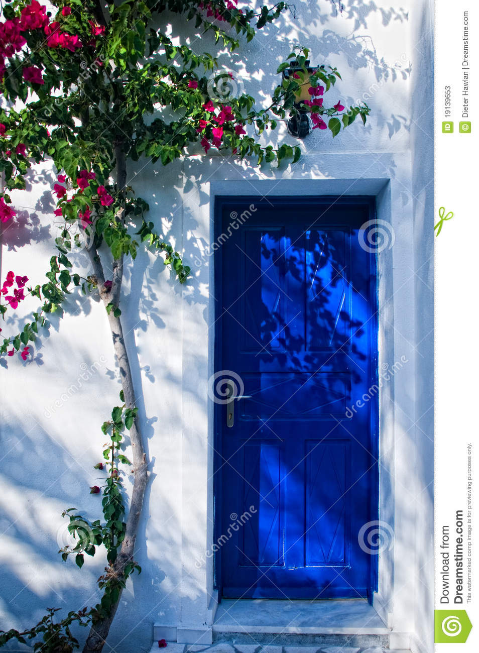 Blue Door In Greece Stock Image Image Of Blue Plant