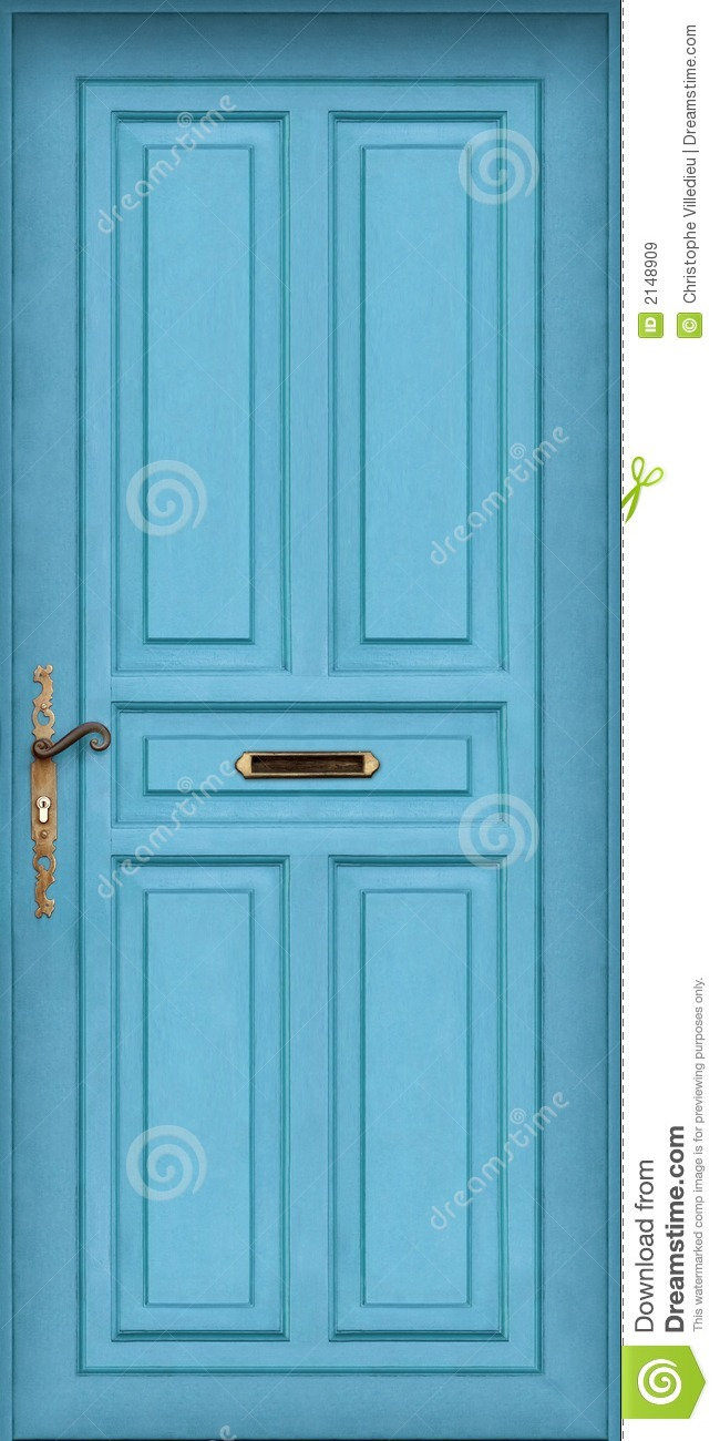 Blue Door With Letter Box Royalty Free Stock Images
