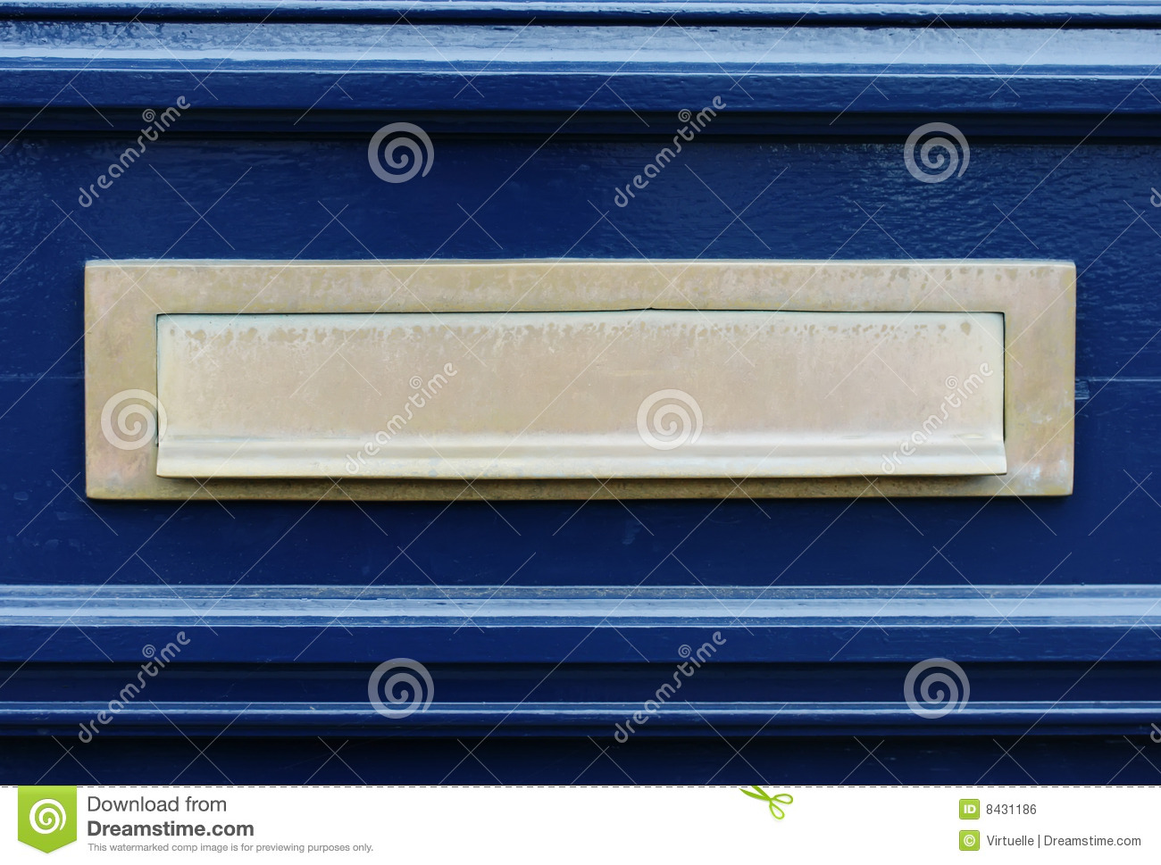 Blue door with letterslot / mailbox