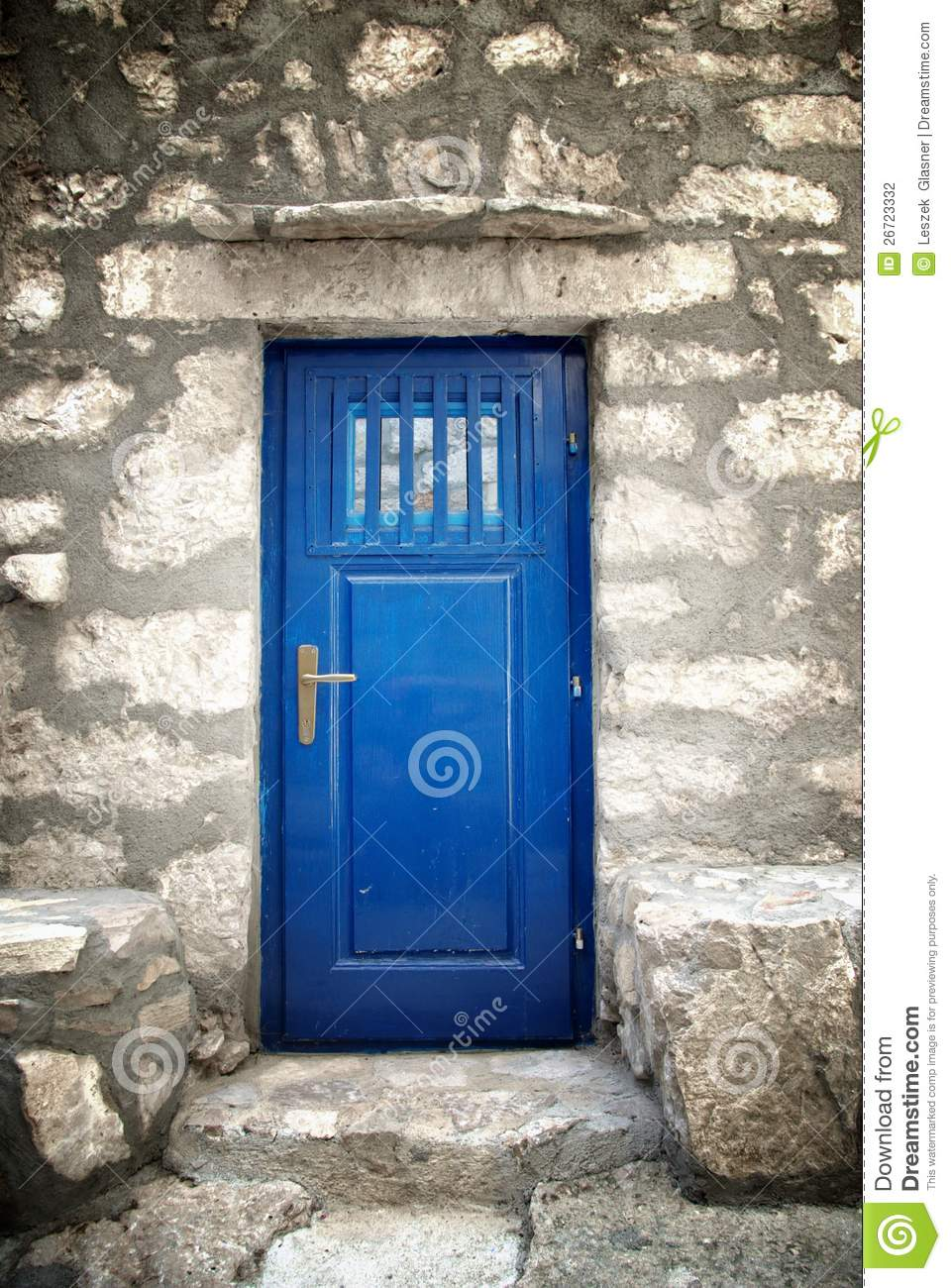 Blue door in old stone house stock photo image 26723332 - House with blue door ...