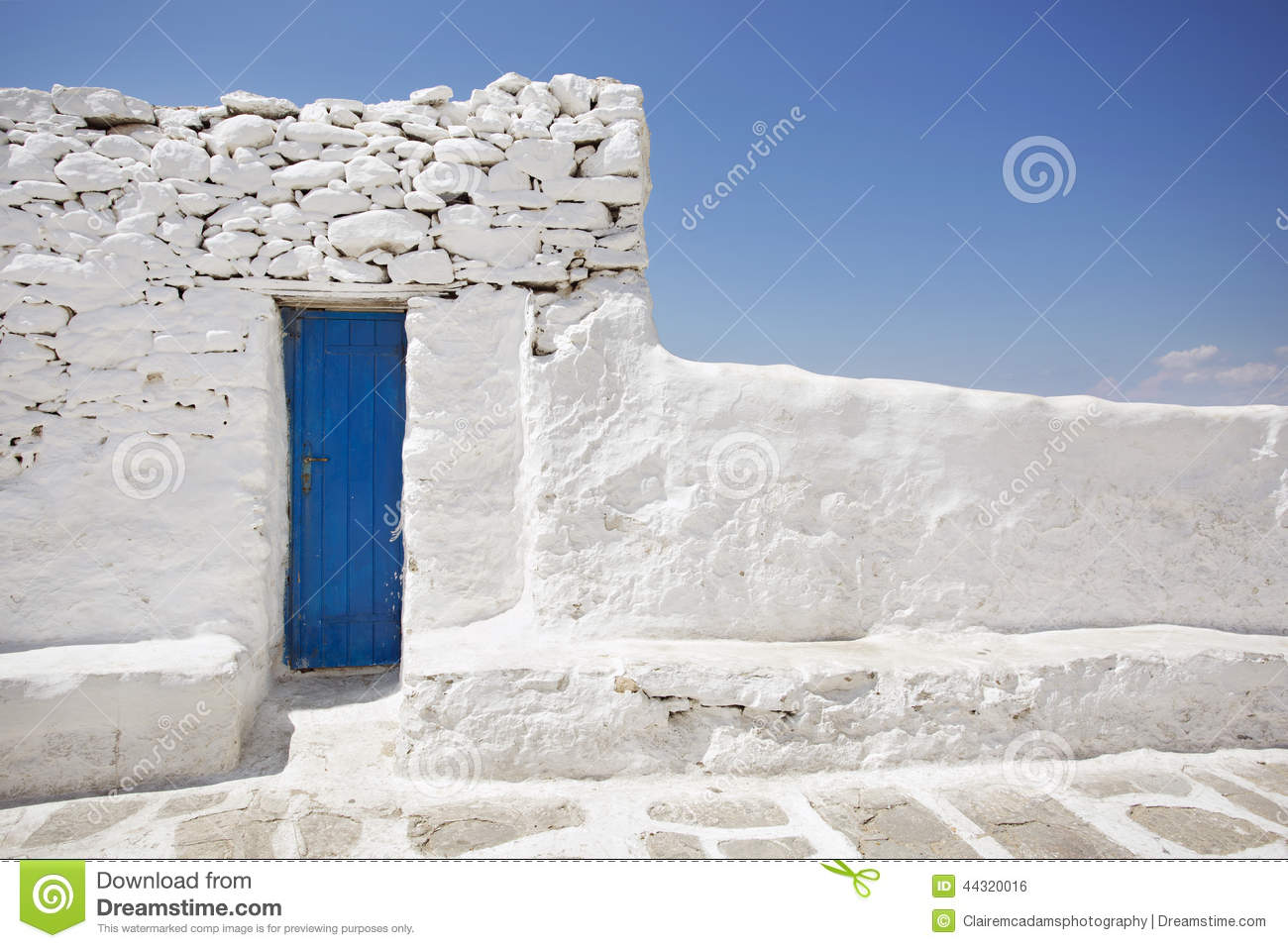 Blue Door And White Stone Wall Stock Photo - Image: 44320016