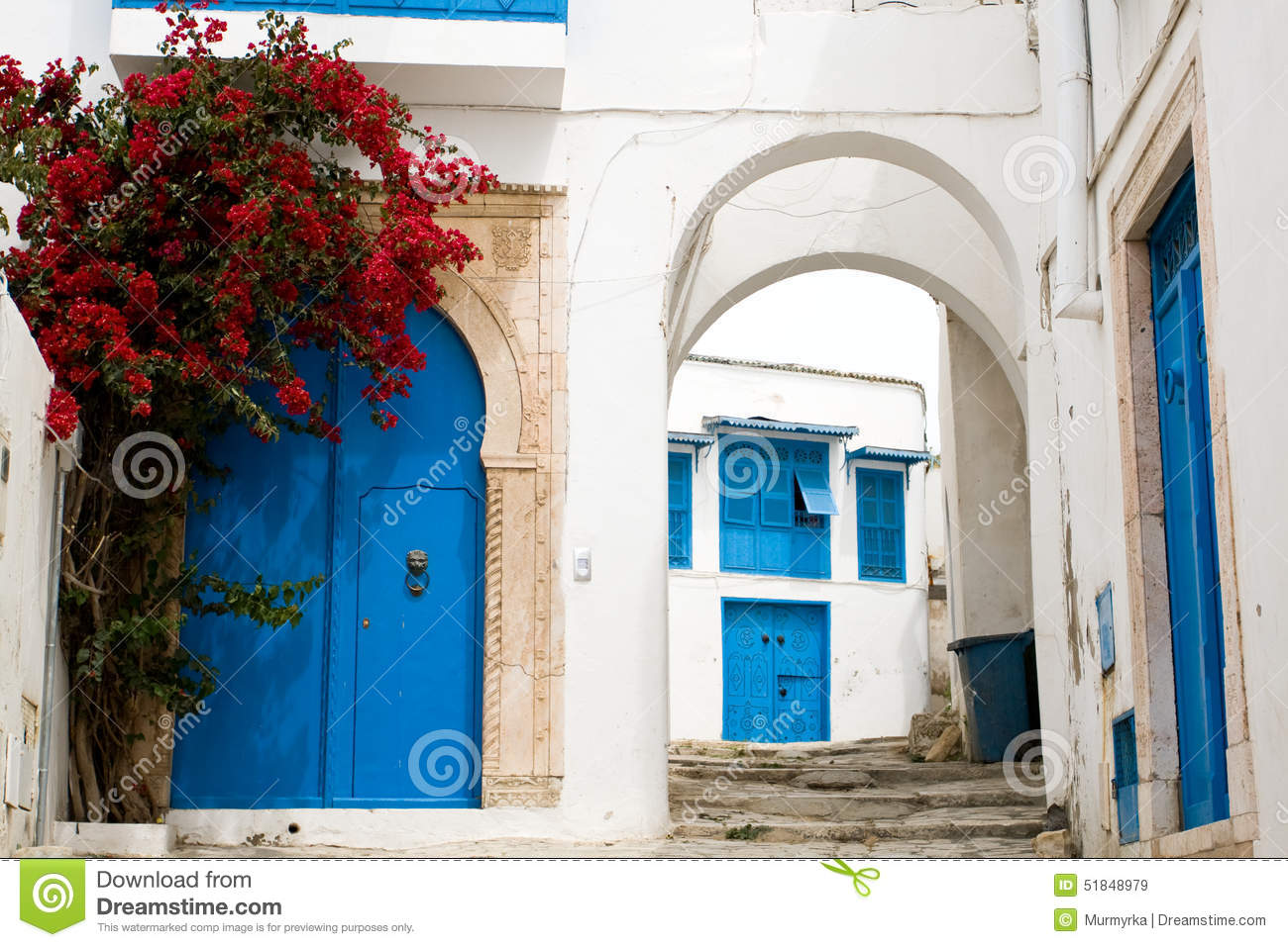 blue doors window and white wall of building in sidi bou said stock photo image 51848979. Black Bedroom Furniture Sets. Home Design Ideas