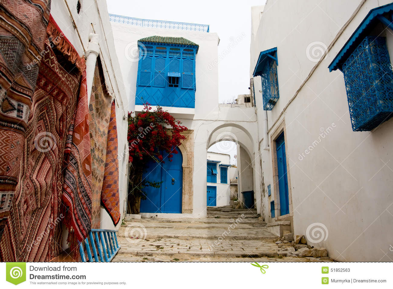 blue doors window and white wall of building in sidi bou said stock image image 51852563. Black Bedroom Furniture Sets. Home Design Ideas