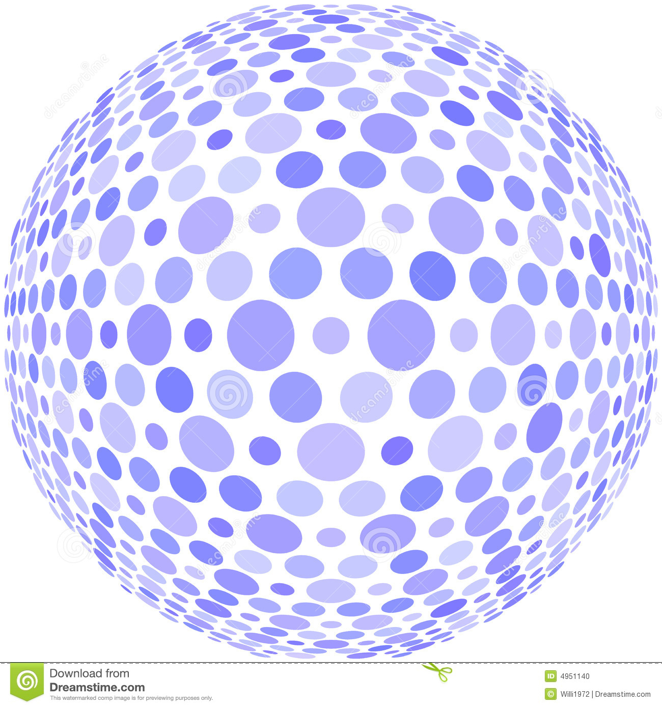 Blue dots on a sphere