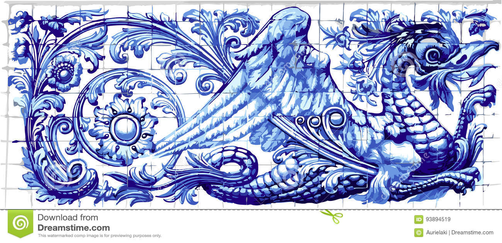 Blue Dragon Azulejo Ceramic Tile Magnet Souvenir Realistic Vector