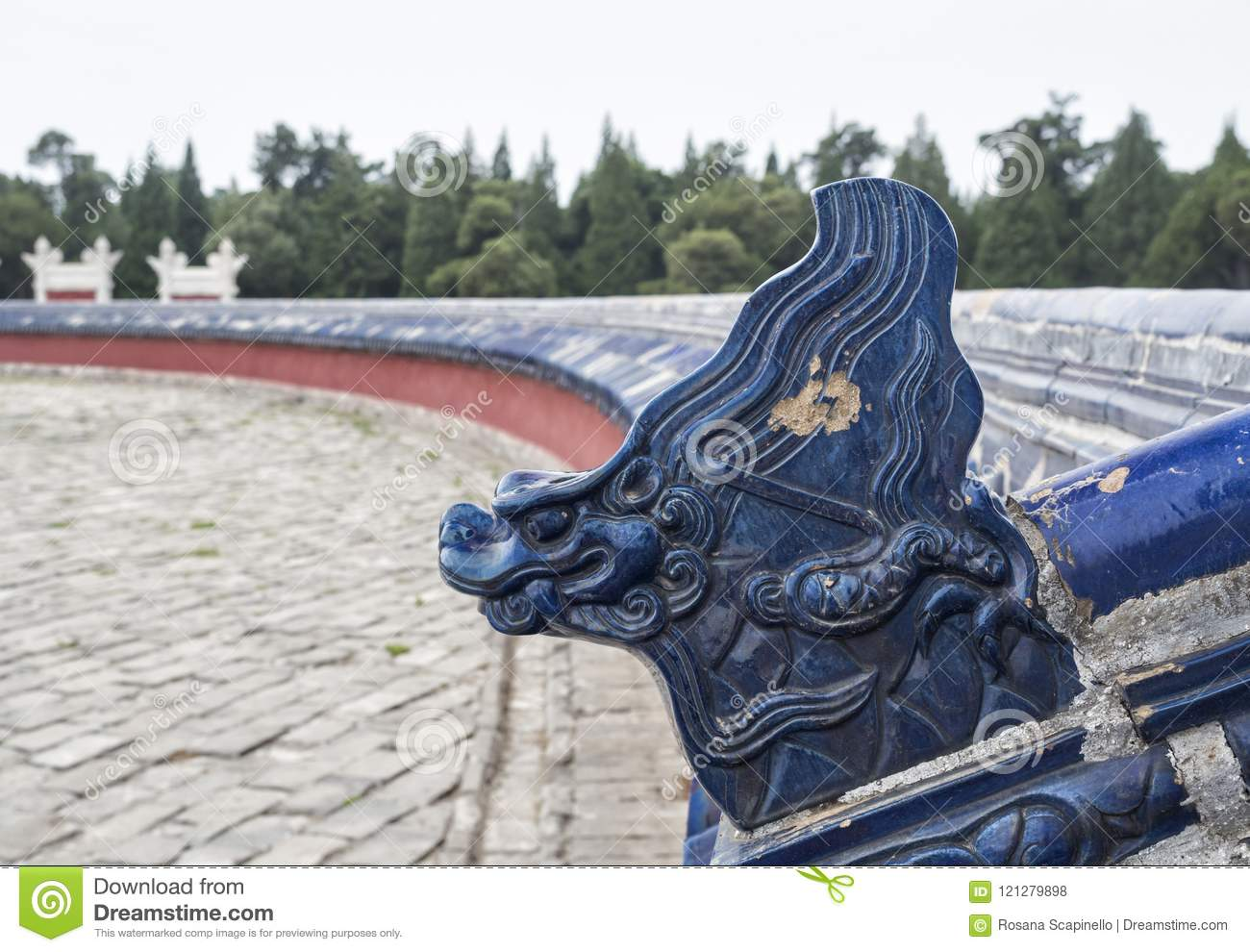 Blue Dragon face decoration at The Circular Mound Altar at the Temple of Heaven, Beijing, China, Asia