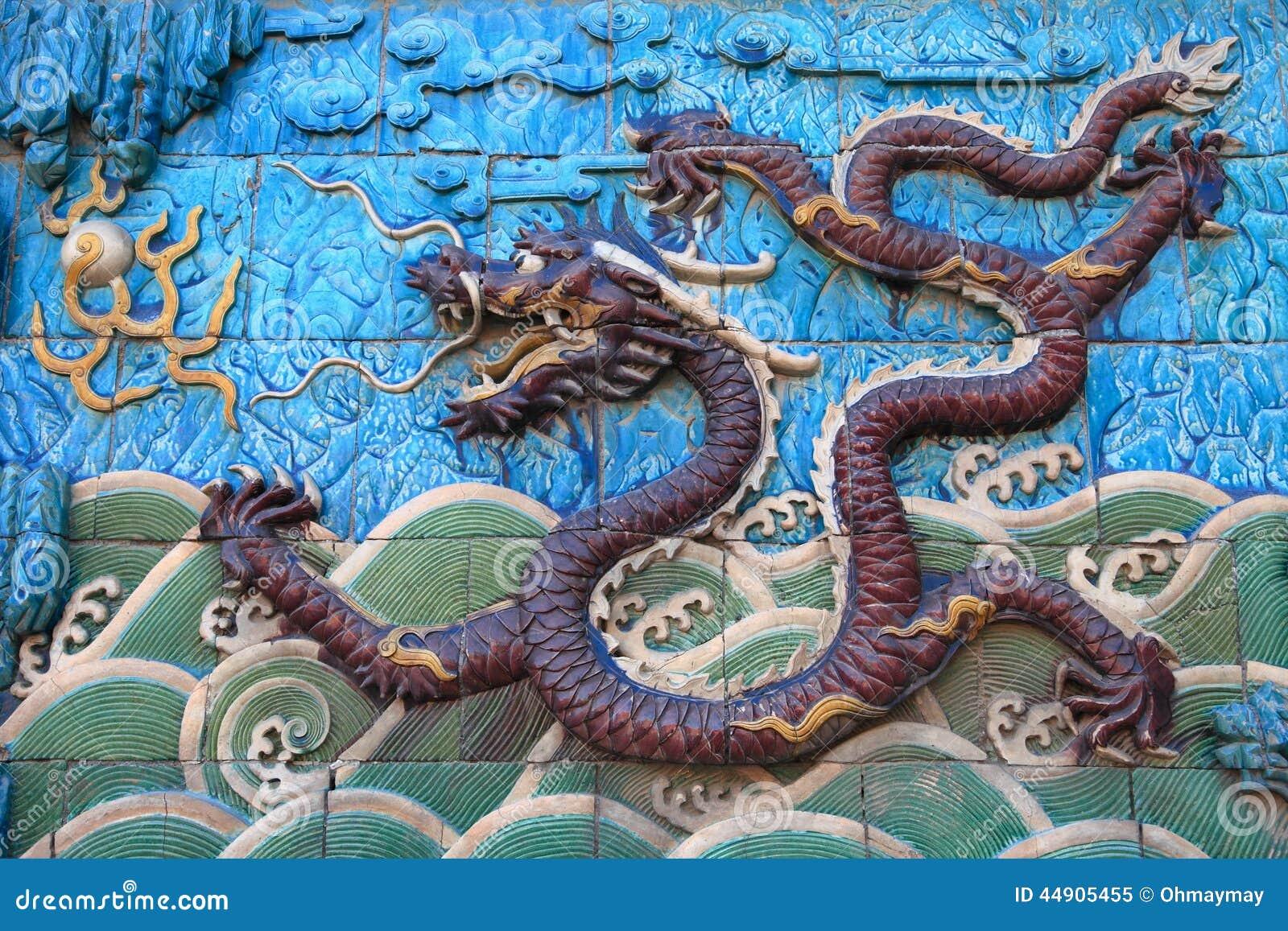 Nine Dragon Wall: Blue Dragon Of Nine-dragon Wall, Beijing Stock Image