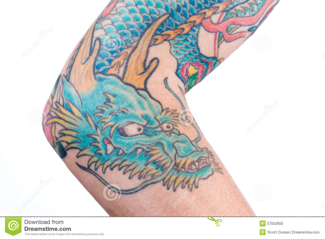 Blue dragon tattoo on arm stock image image of blue for Forearm tattoo cost