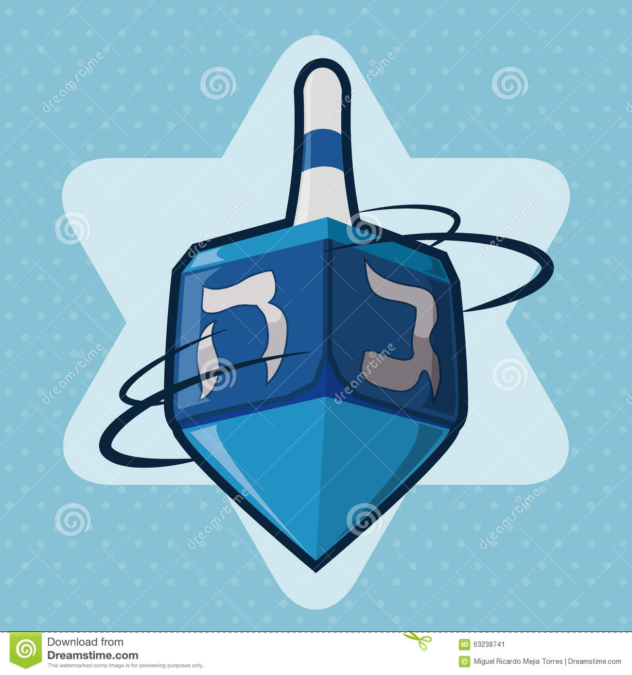 Blue Dreidel Spinning, Vector Illustration Stock Vector ...