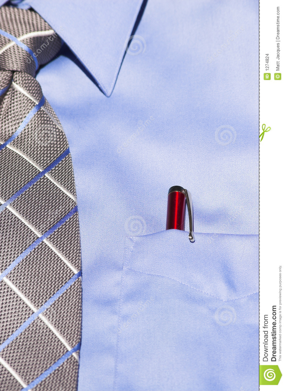 Blue dress shirt with tie and red pen