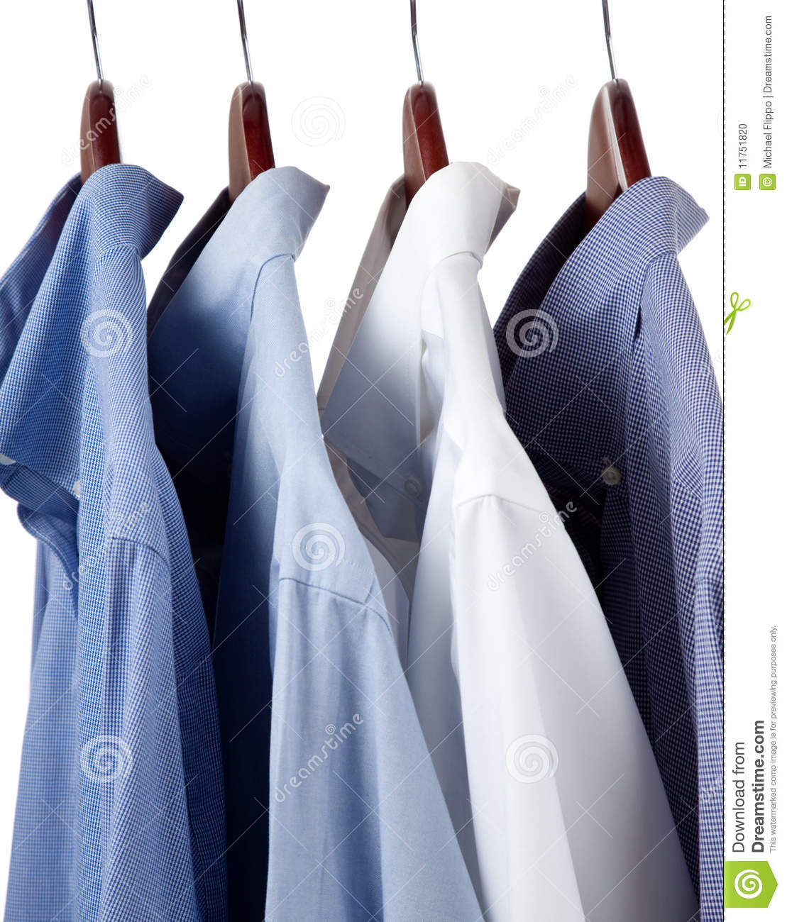 blue dress shirts on wooden hangers stock photo image