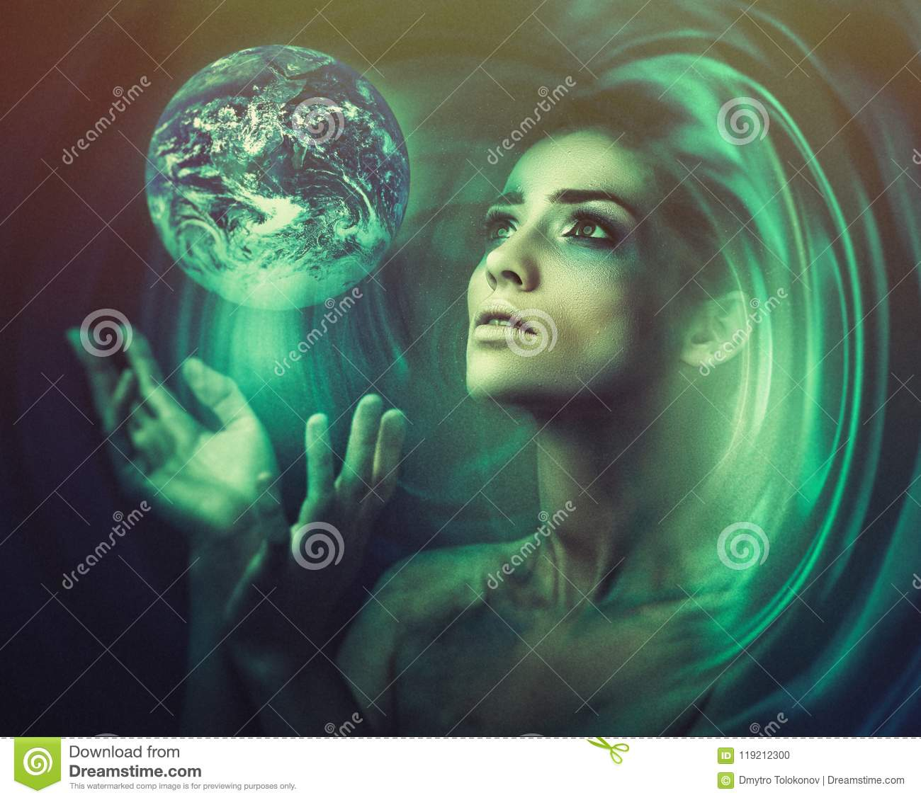 Blue Earth in her hands. Birth of a new universe.