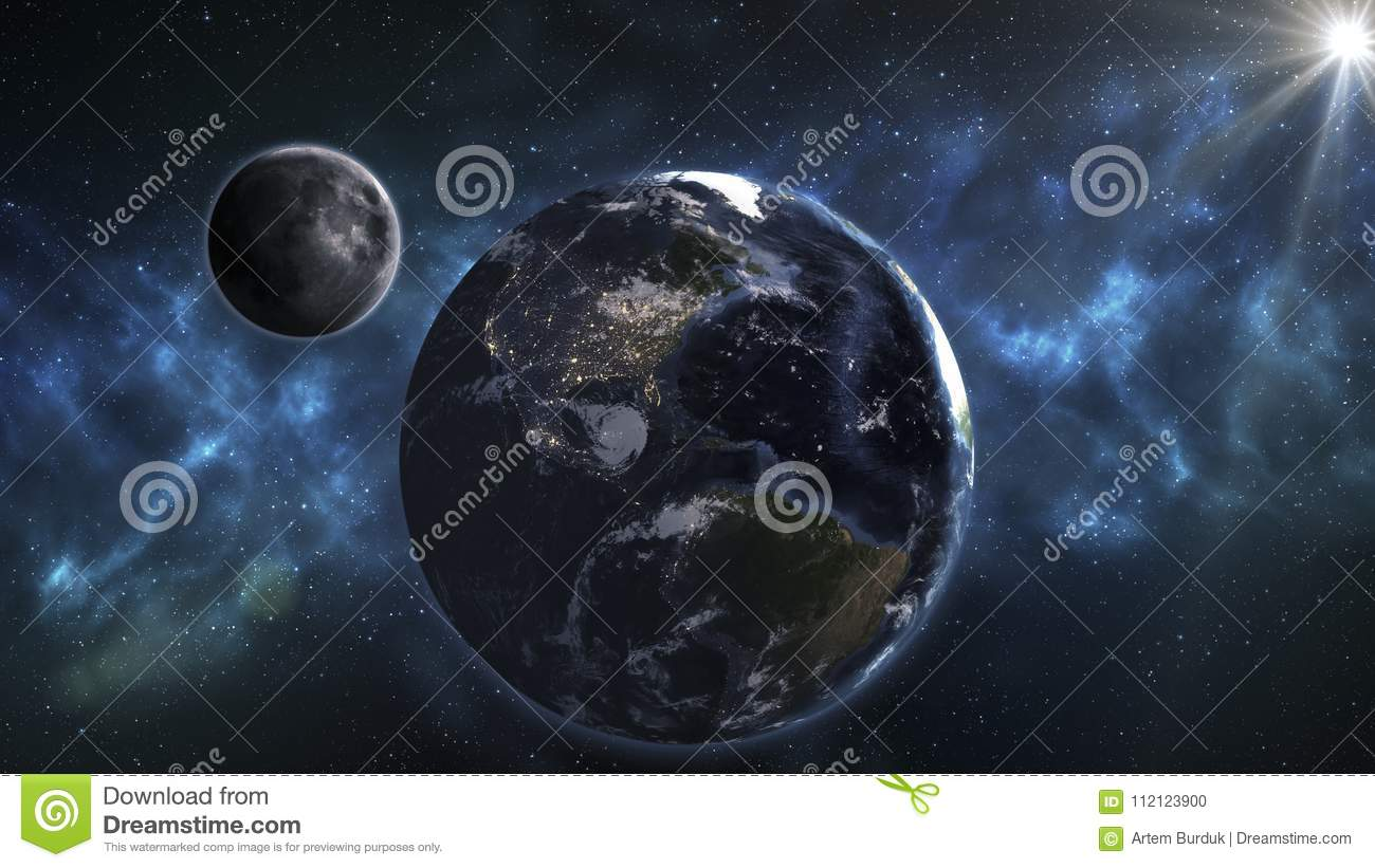 Blue Earth And Moon In The Space Space Wallpaper Elements