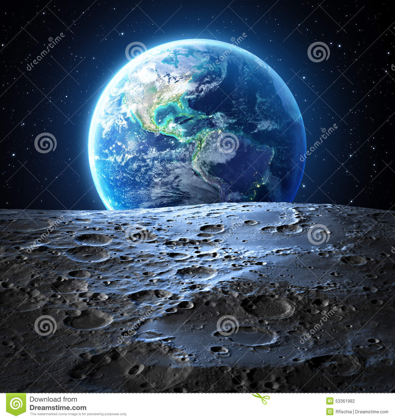 blue earth view from moon surface stock photo image of moonlight light 53361982. Black Bedroom Furniture Sets. Home Design Ideas