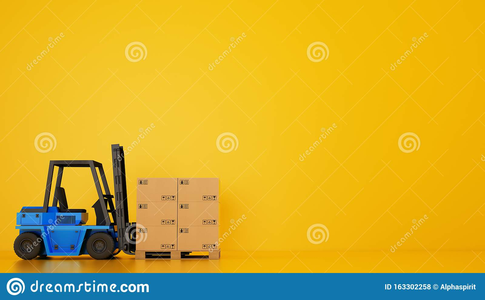 Electric blue forklift loads a wooden pallet with boxes on yellow background