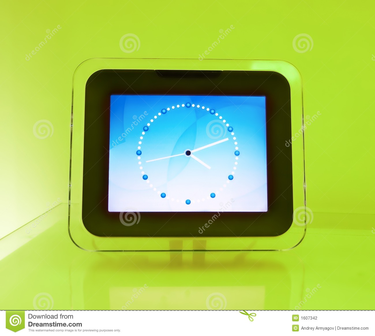 Blue Electronic Hours, On A Green Background. Stock Photo ...