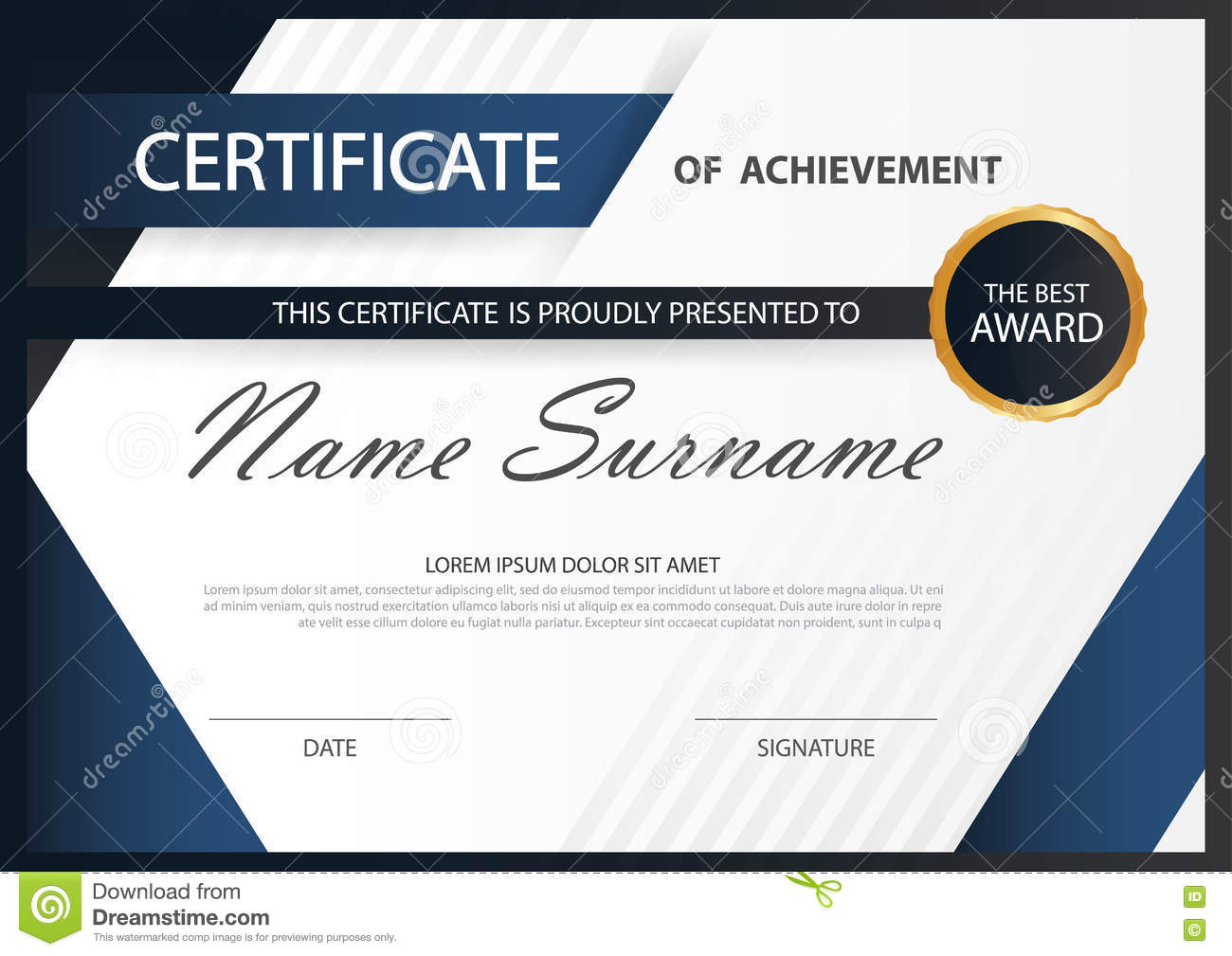Blue Elegance Horizontal Certificate With Vector Illustration White