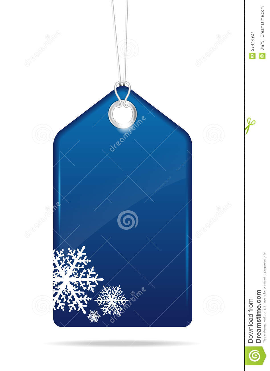 blue empty christmas price tag royalty free stock