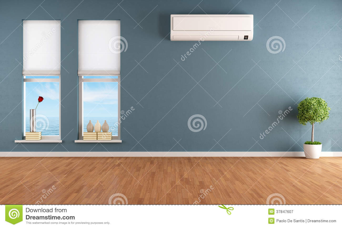 Blue empty room with air conditioner royalty free stock for Assainissement air maison