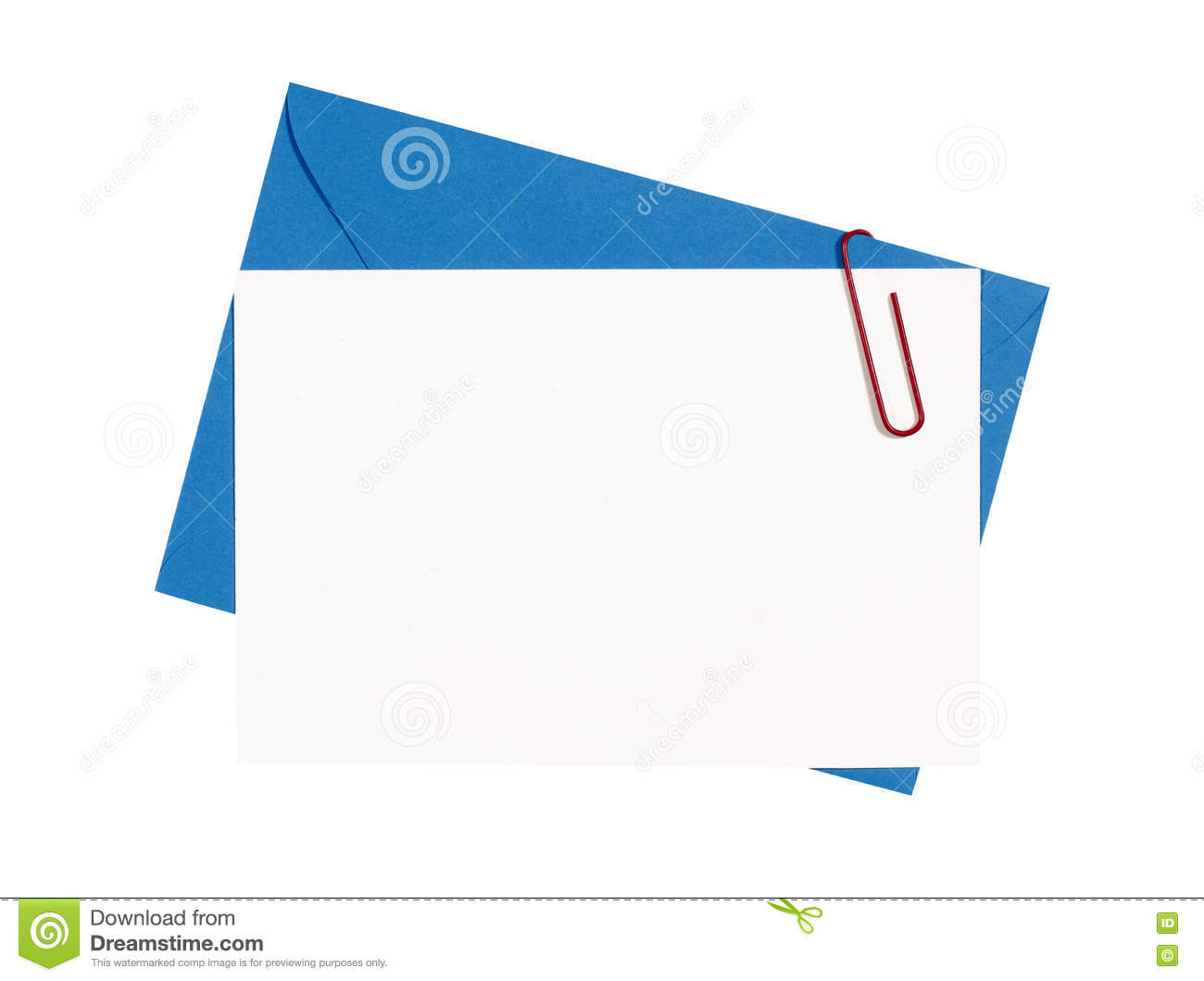 Blue Envelope With Blank Invite Card Isolated On White Photo – Invite Card