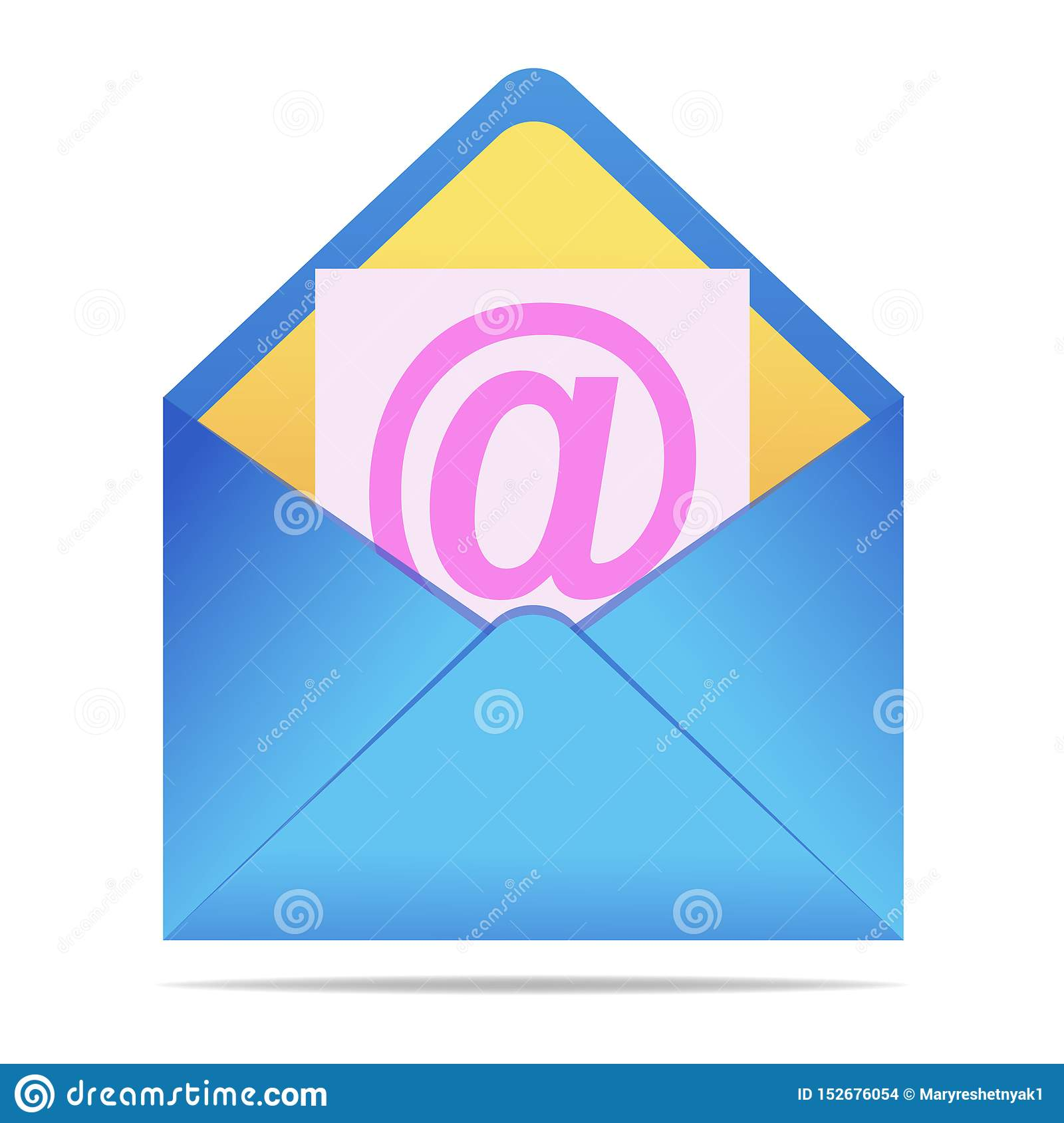 Blue envelope on isolated background. Vector envelope in realistic style. Symbol of message, mail, email or business document. Vec