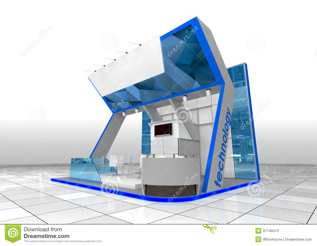 Modern Exhibition Stand Design : Blue exhibition stand stock illustration of