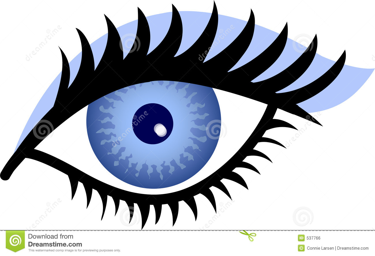Stylized Illustration of a woman's blue eye with blue eye shadow.