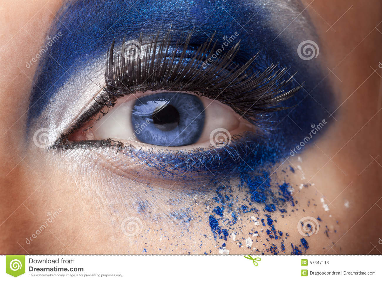 Blue Eye With Fantasy Fashion Make Up Stock Photo
