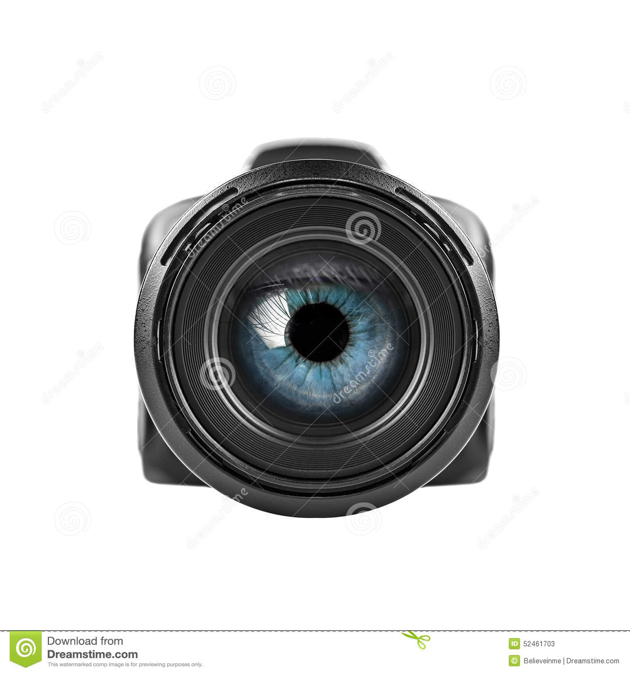 Blue Eye Looking Through A Digital Camera Lens Stock Photo ...