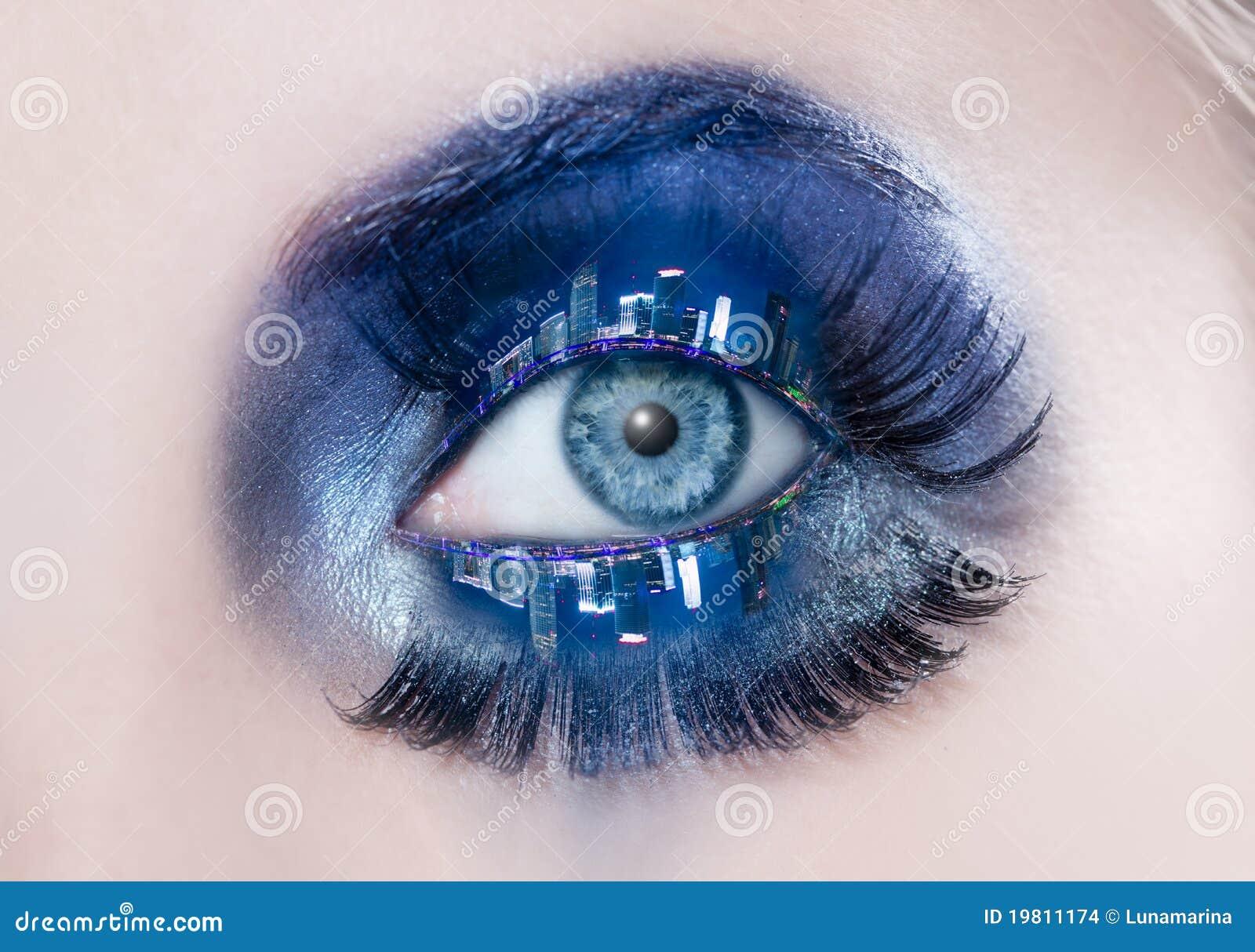 Blue eye makeup macro night city skyline eyelids