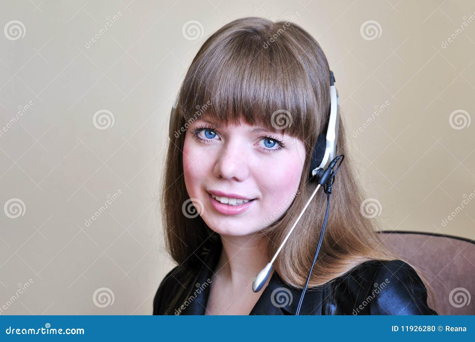 Blue-eyed girl operator
