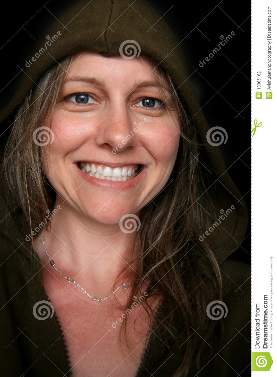 Blue Eyed Woman With Beautiful Smile