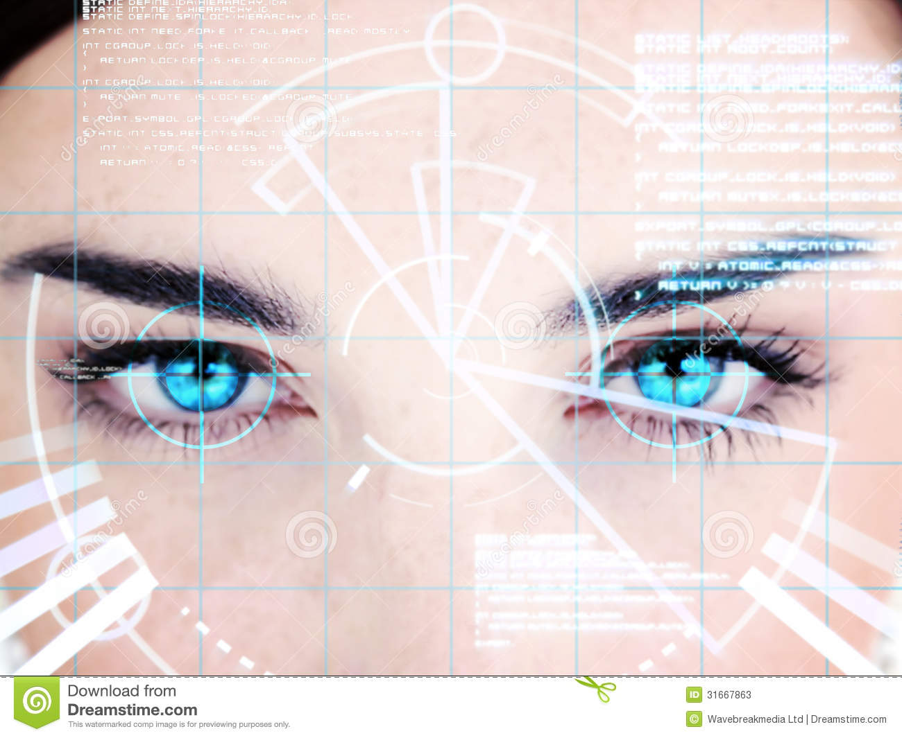 blue eyed woman interface computer face 31667863