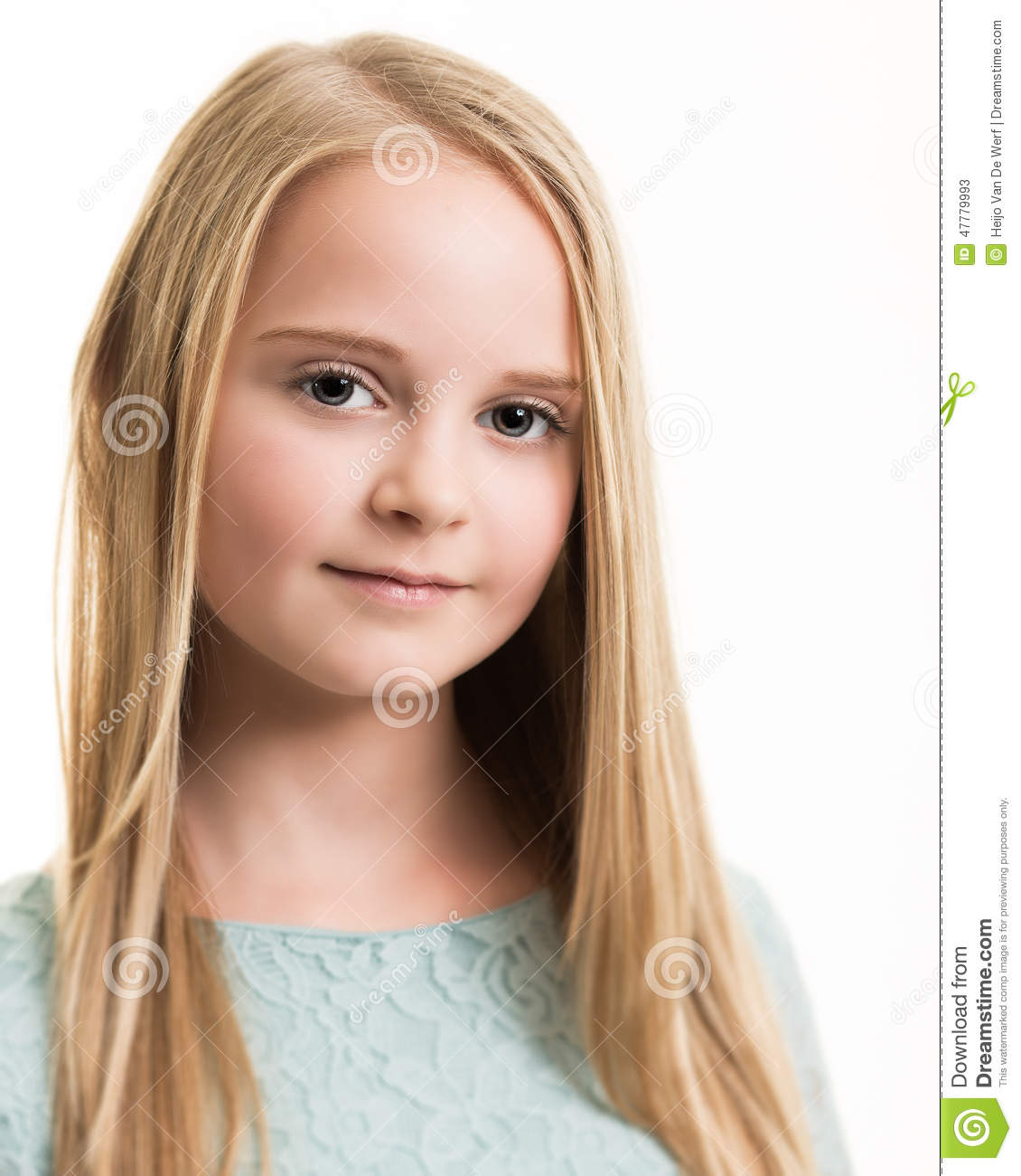 9fa089fb6ee89 Portrait of a young blue eyed teenage girl with long blond hair wearing a  turquoise blue green top with a neutral expression isolated against a white/ light ...