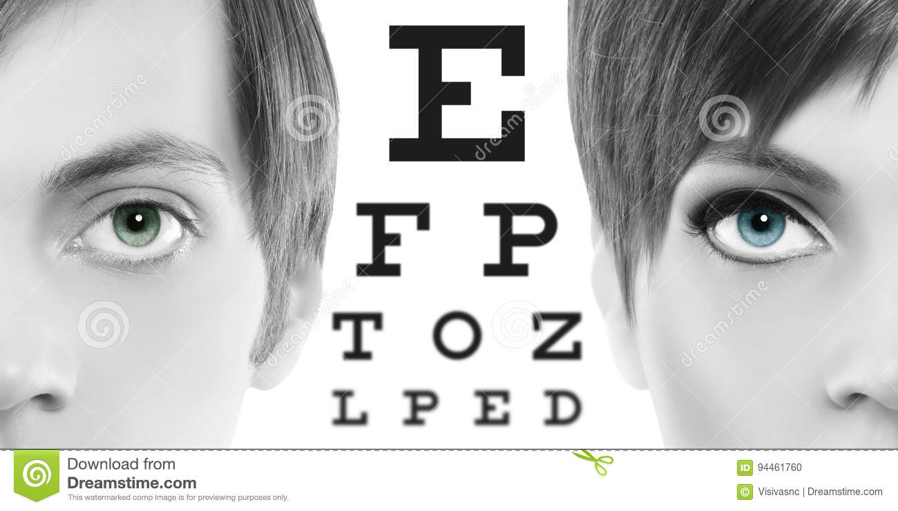 Blue eyes close up on visual test chart eyesight and eye exam stock royalty free stock photo geenschuldenfo Image collections