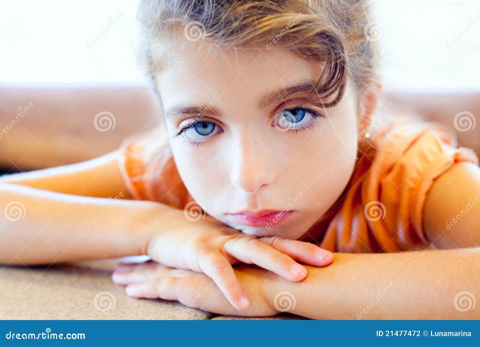 Blue Eyes Sad Children Girl Crossed Arms Stock Photo